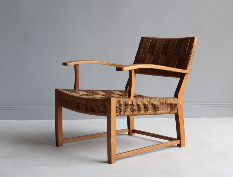Danish Frits Schlegel 'Attributed', Modernist Lounge Chair, Beech, Cord, Denmark, 1940s For Sale