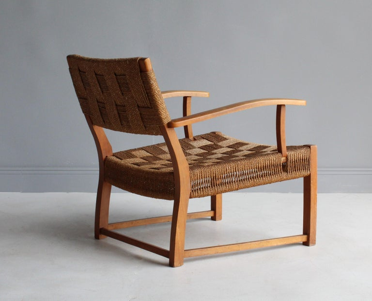 Frits Schlegel 'Attributed', Modernist Lounge Chair, Beech, Cord, Denmark, 1940s In Good Condition For Sale In West Palm Beach, FL