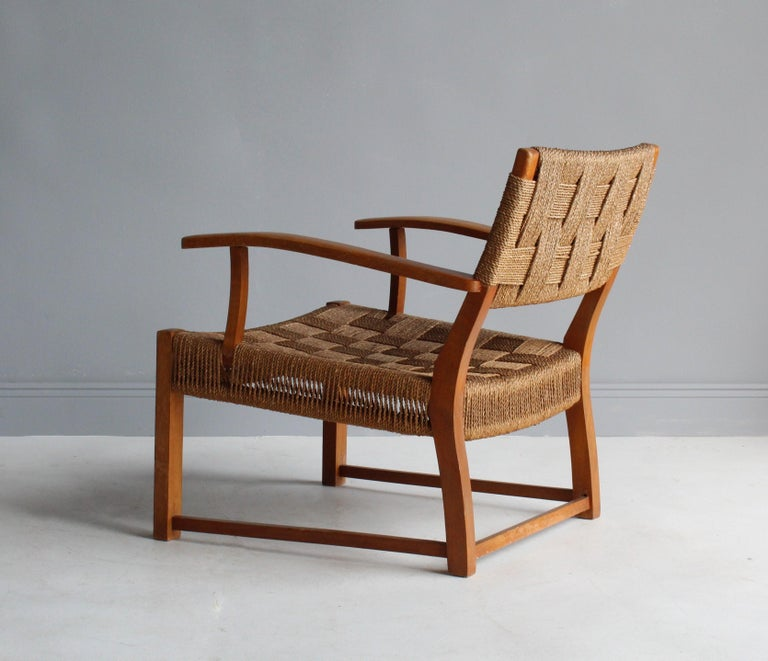 Mid-20th Century Frits Schlegel 'Attributed', Modernist Lounge Chair, Beech, Cord, Denmark, 1940s For Sale