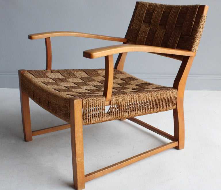 Frits Schlegel 'Attributed', Modernist Lounge Chair, Beech, Cord, Denmark, 1940s For Sale 1