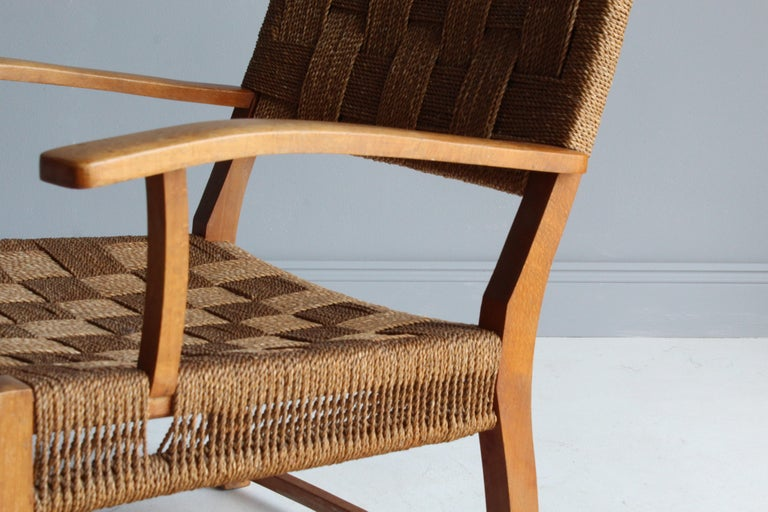 Frits Schlegel 'Attributed', Modernist Lounge Chair, Beech, Cord, Denmark, 1940s For Sale 2