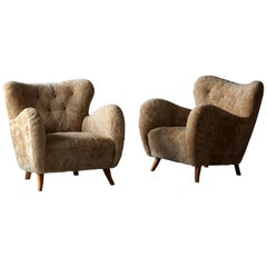 Frits Schlegel 'Attribution' Lounge Chairs, Beige Sheepskin, Beech 1940s Denmark