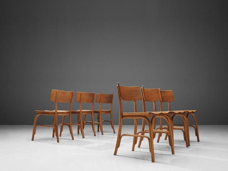 Scandinavian Modern Frits Schlegel for Fritz Hansen Set of Six 'Husum' Chairs For Sale