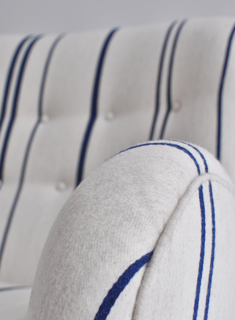 Frits Schlegel Sofa / Settee in Blue Striped Savak Wool, Denmark, 1940s For Sale 5