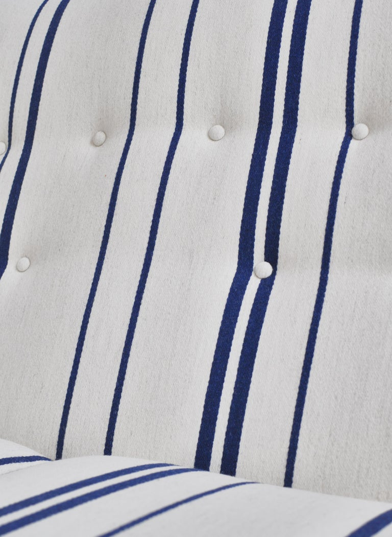 Frits Schlegel Sofa / Settee in Blue Striped Savak Wool, Denmark, 1940s For Sale 7
