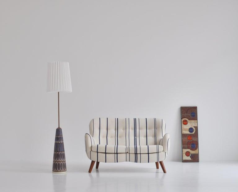 Frits Schlegel Sofa / Settee in Blue Striped Savak Wool, Denmark, 1940s For Sale 8