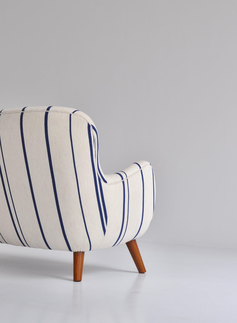 Frits Schlegel Sofa / Settee in Blue Striped Savak Wool, Denmark, 1940s For Sale 2