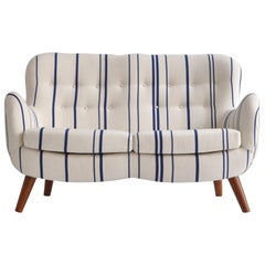 Frits Schlegel Sofa / Settee in Blue Striped Savak Wool, Denmark, 1940s
