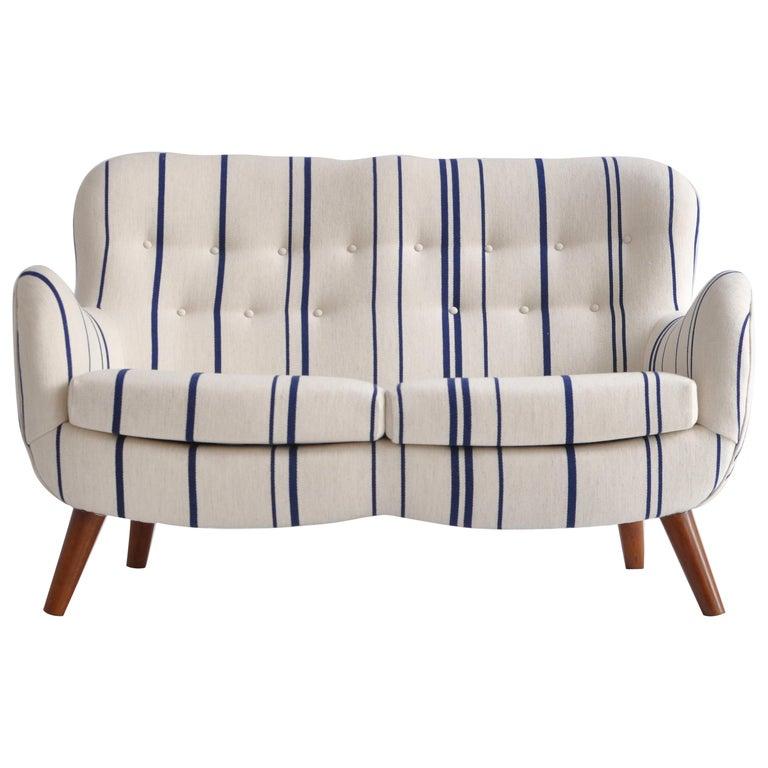 Frits Schlegel Sofa / Settee in Blue Striped Savak Wool, Denmark, 1940s For Sale