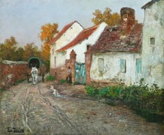 In the Village - 19th Century Oil, Horse & Cart in Landscape by Fritz Thaulow