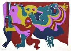 Composition - Original Lithograph by  Fritz Baumgartner - 1975