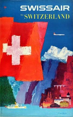 Original Vintage Travel Poster Swissair To Switzerland Mountains Lake Swiss Flag
