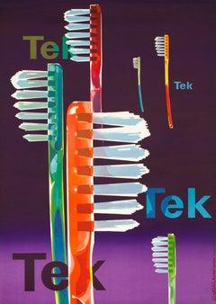 """Tek"" Original Vintage Toothbrush Object Poster 1940s"