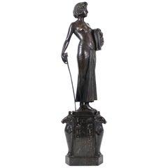 Fritz Christ German Jugendstil 'Judith' Bronze Sculpture on Marble Base