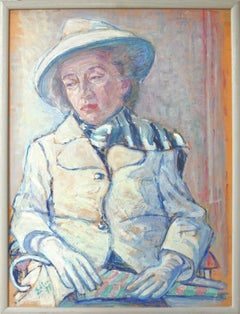 Portrait Of A Lady, Oil Paint on Cardboard 1971 by Fritz Edler
