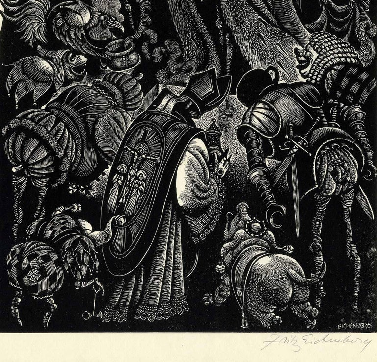 Follies of the Courts  - American Modern Print by Fritz Eichenberg.
