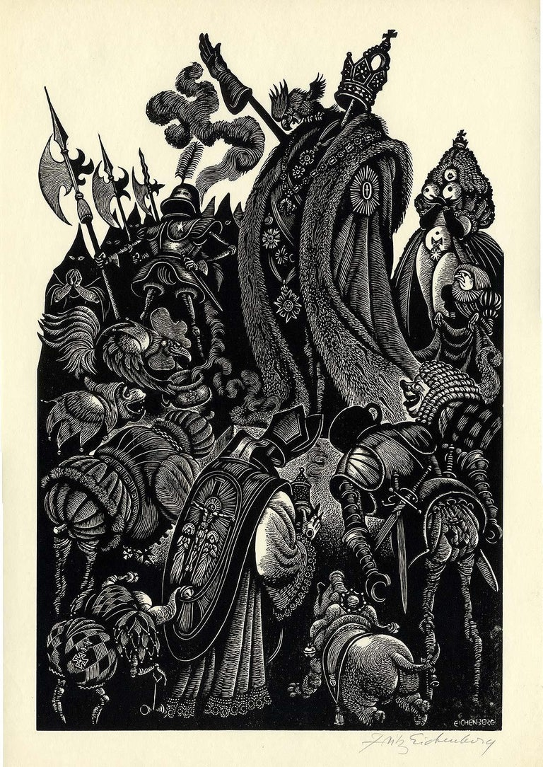 Follies of the Courts  - Brown Figurative Print by Fritz Eichenberg.