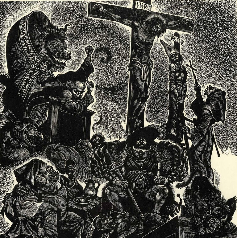 Follies of the Monks  - Print by Fritz Eichenberg.