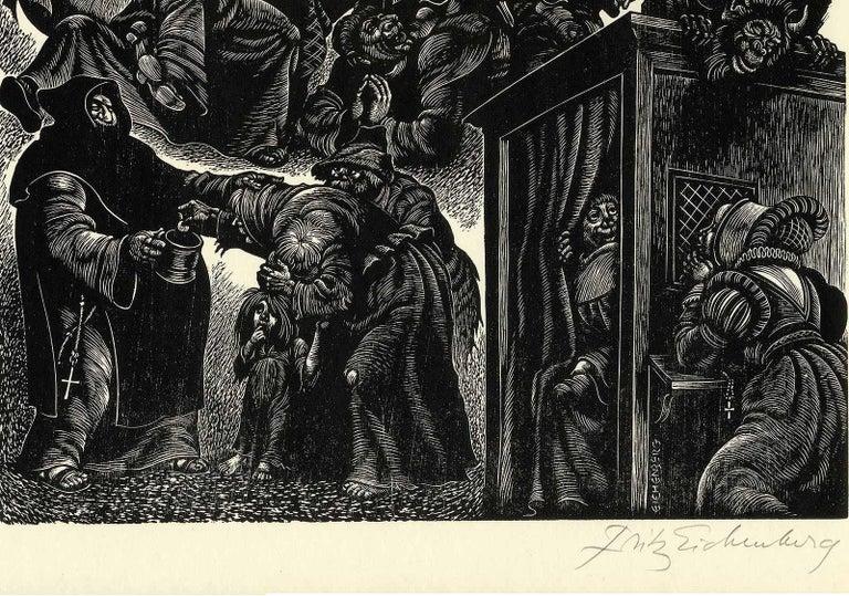 Follies of the Monks  - American Modern Print by Fritz Eichenberg.