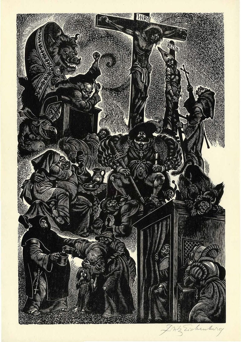 Follies of the Monks  - Brown Portrait Print by Fritz Eichenberg.
