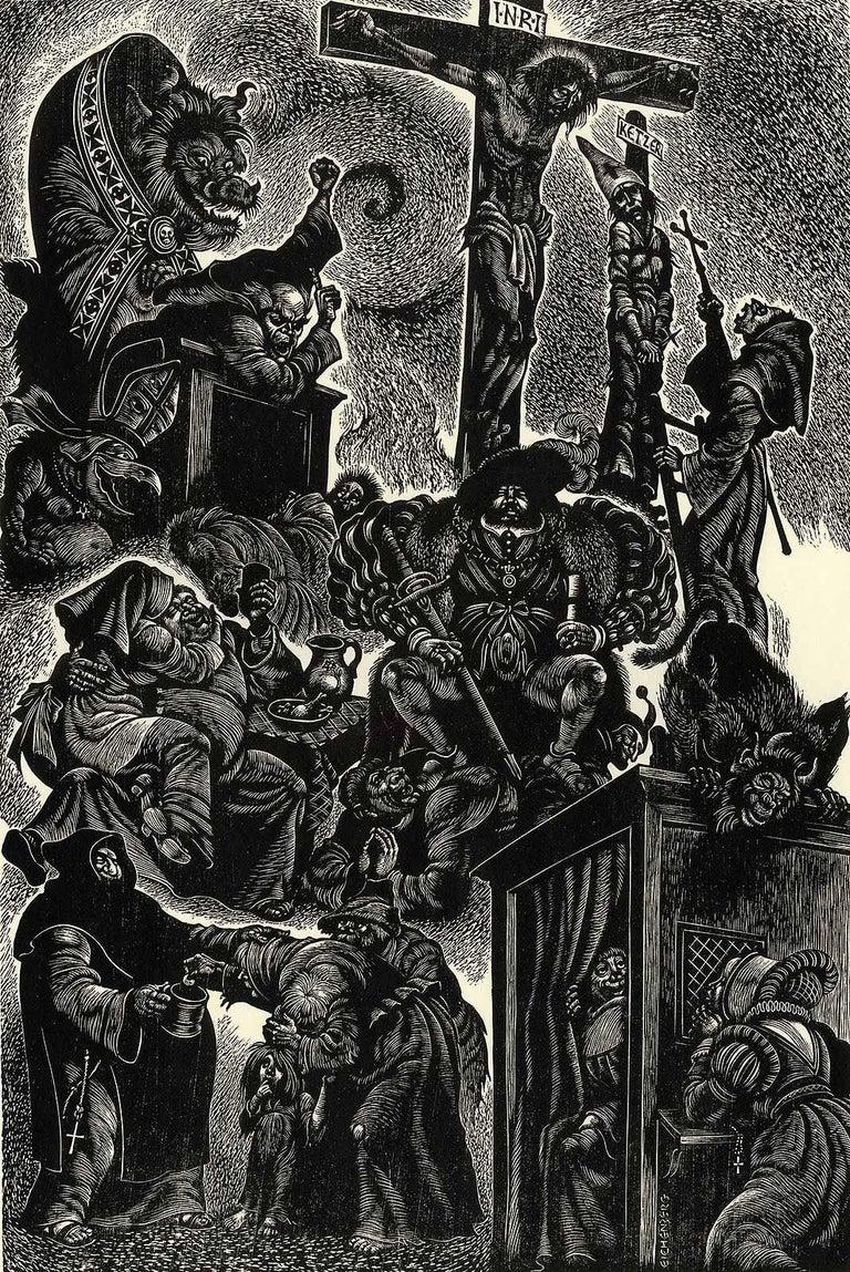Fritz Eichenberg. Portrait Print - Follies of the Monks