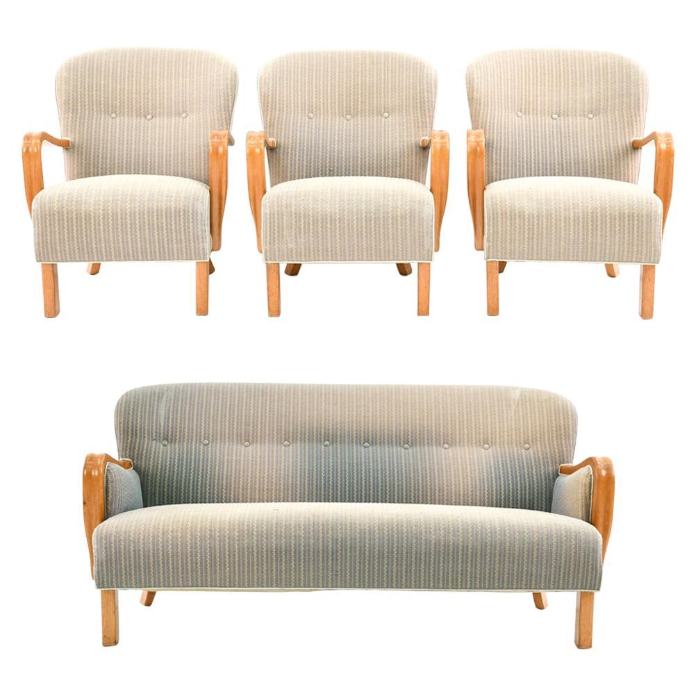Fritz Hansen 1930s Style Danish Midcentury Seating Suite