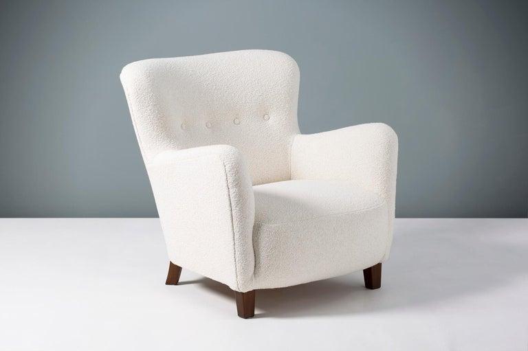 Scandinavian Modern Fritz Hansen 1940s Boucle Armchair For Sale