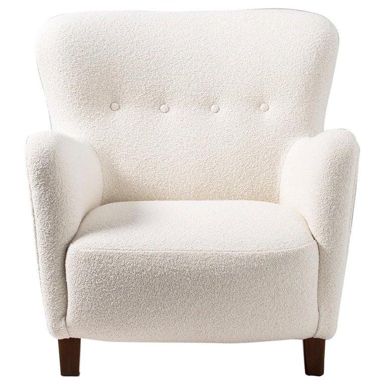 Fritz Hansen 1940s Boucle Armchair For Sale