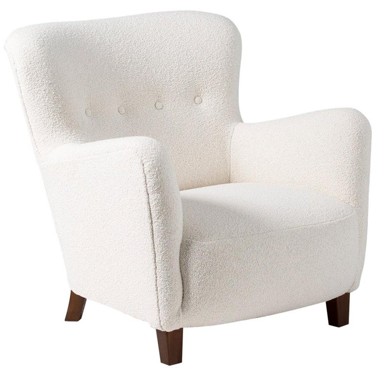 Fritz Hansen 1940s Boucle Armchair For Sale