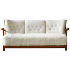 Fritz Hansen 1940s Model 1594 Spindle Back Sofa in Ivory Lambswool