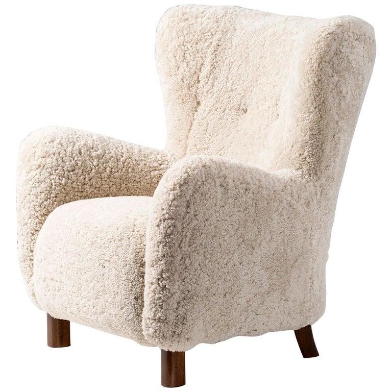 Fritz Hansen 1940s Sheepskin Armchair For Sale