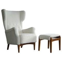 Fritz Hansen 1950s Danish Wingback Chair Model 8023 with Ottoman in Lambs Wool