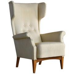 Fritz Hansen 1950s Wingback Chair Model 8023 in Teak Danish Midcentury