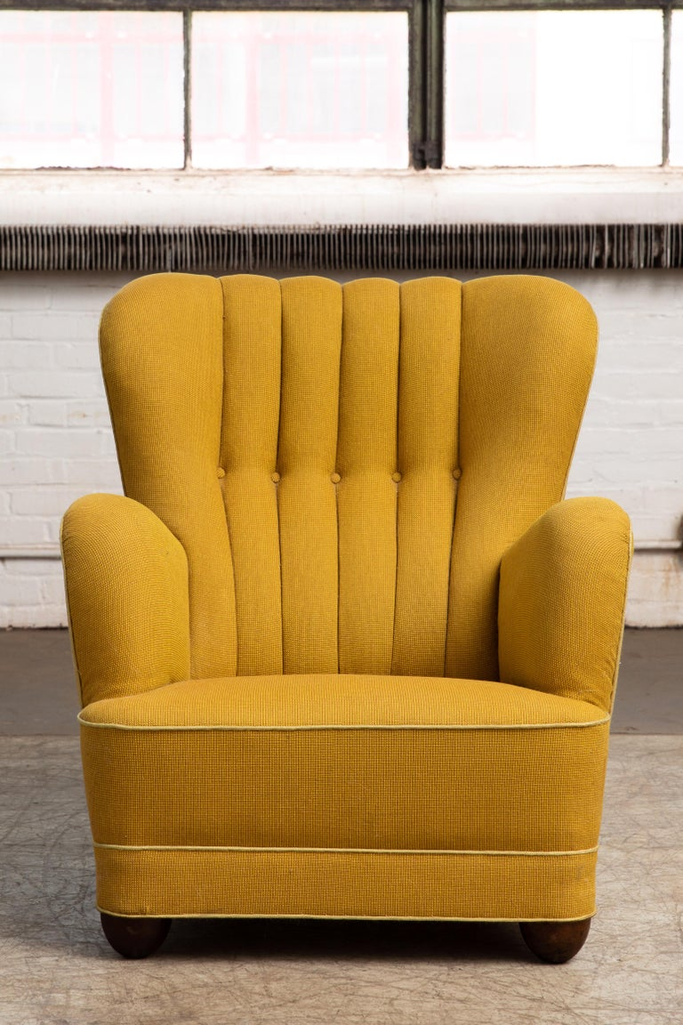 Mid-Century Modern Fritz Hansen Attributed 1940s Danish Channel Back Lounge Chair For Sale