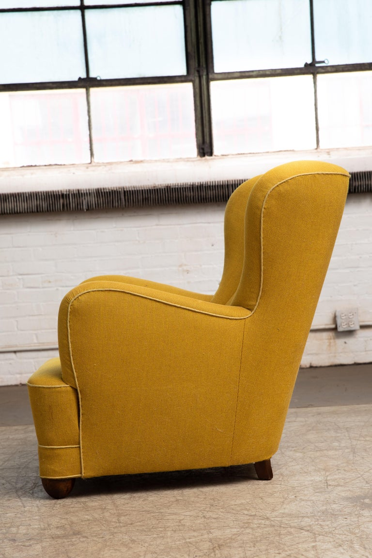 Fritz Hansen Attributed 1940s Danish Channel Back Lounge Chair In Good Condition For Sale In Bridgeport, CT