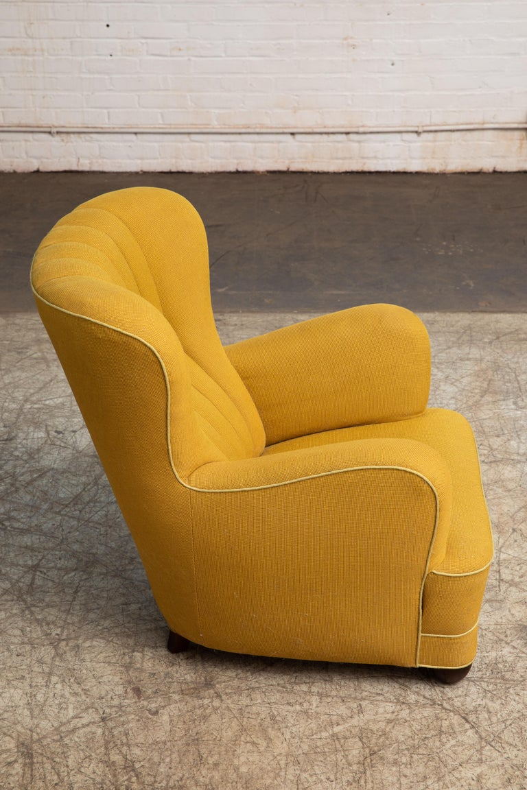 Mid-20th Century Fritz Hansen Attributed 1940s Danish Channel Back Lounge Chair For Sale