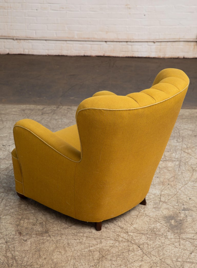 Wool Fritz Hansen Attributed 1940s Danish Channel Back Lounge Chair For Sale