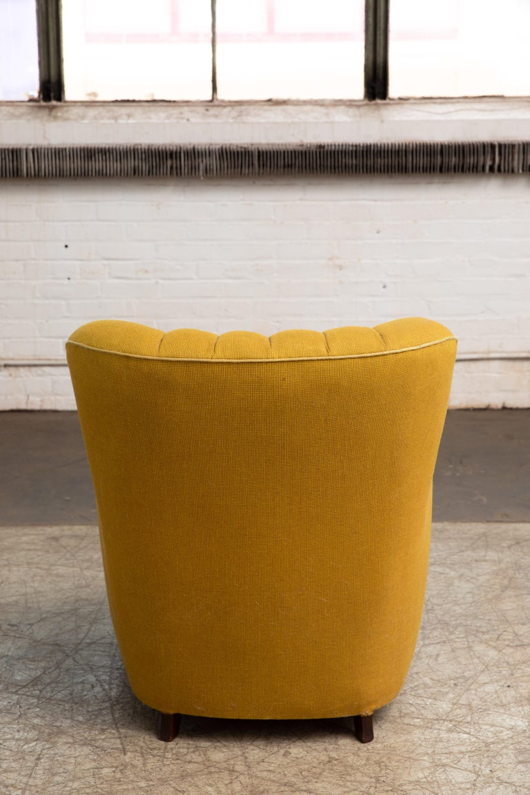 Fritz Hansen Attributed 1940s Danish Channel Back Lounge Chair For Sale 1
