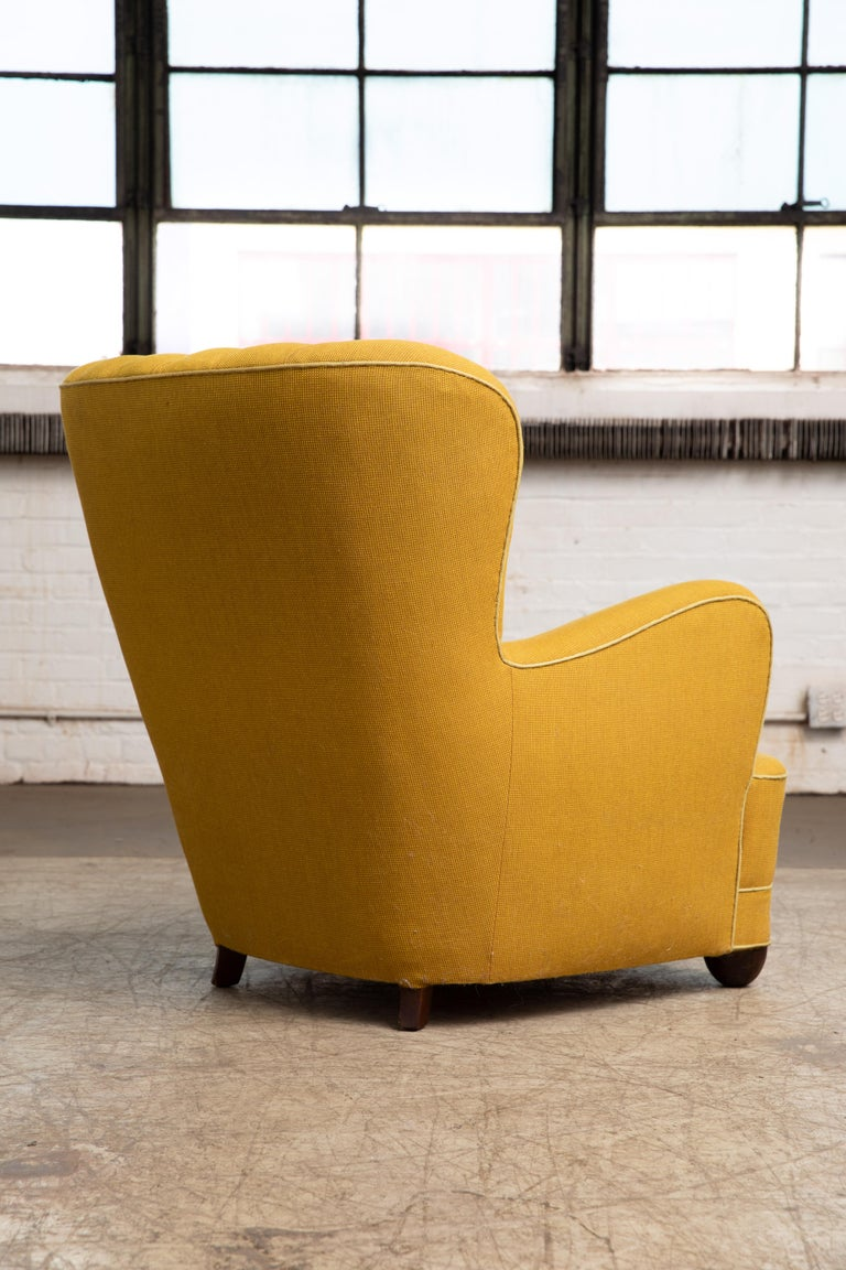 Fritz Hansen Attributed 1940s Danish Channel Back Lounge Chair For Sale 2