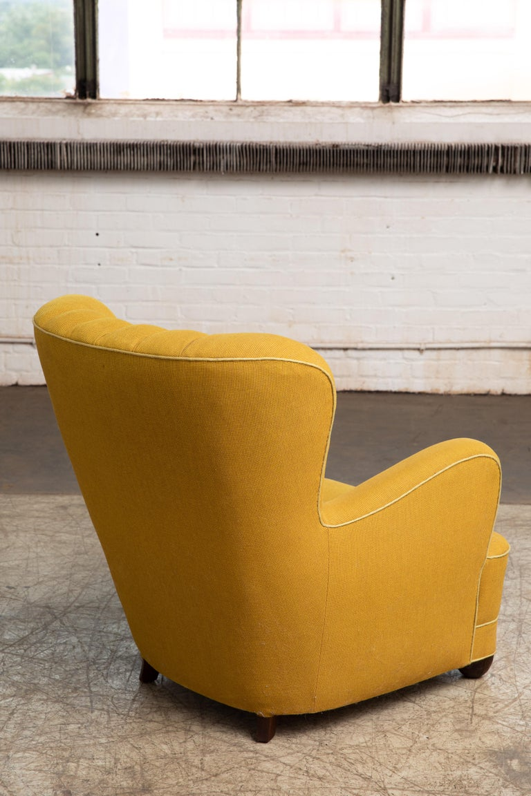 Fritz Hansen Attributed 1940s Danish Channel Back Lounge Chair For Sale 3