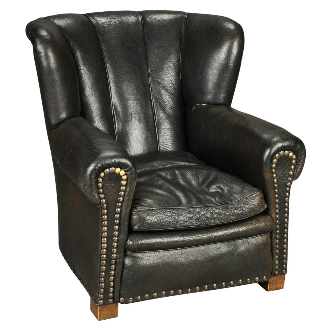 Fritz Hansen Attributed 1940s Danish Channel Back Lounge Chair in Black Leather