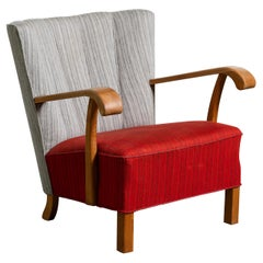 Fritz Hansen Attributed Danish 1940s Easy Chair with Open Armrests in Oak