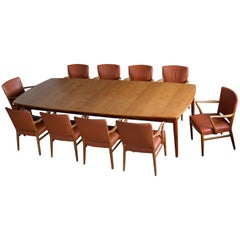 Fritz Hansen Attributed Large Conference or Dining Table Set of Eight Chairs