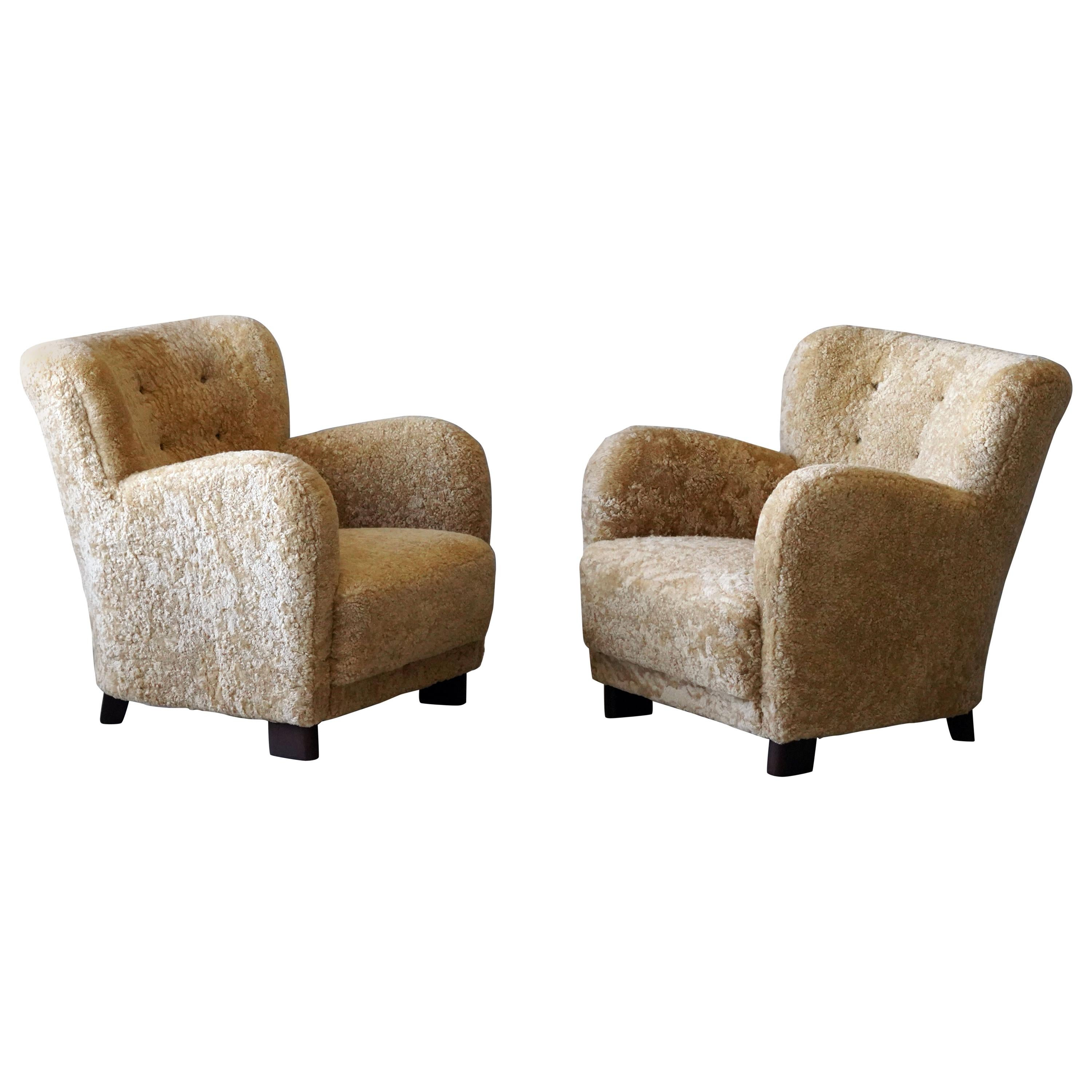 Fritz Hansen 'Attributed' Lounge Chairs, Sheepskin, Stained Wood, Denmark, 1940s