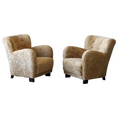 Fritz Hansen 'Attribute' Lounge Chairs, Sheepskin, Stained Wood, Denmark, 1940s