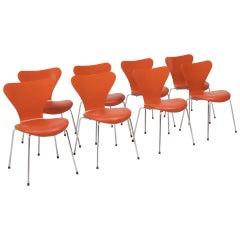 Fritz Hansen by Arne Jacobsen Orange Leather Series 7 Dining Chairs, Set of 8