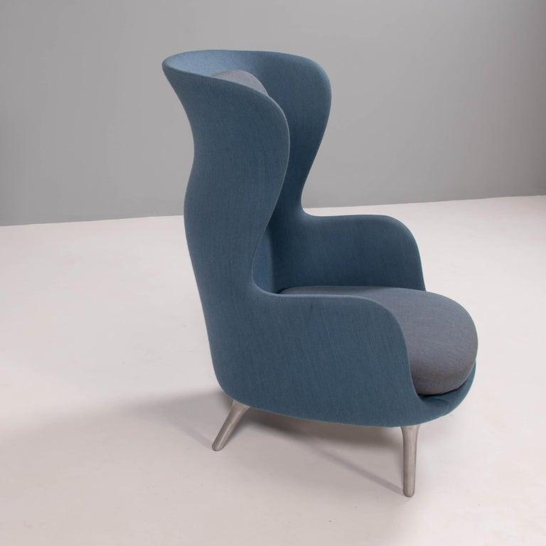 Danish Fritz Hansen by Jaime Hayon Blue & Grey RO Lounge Chair For Sale