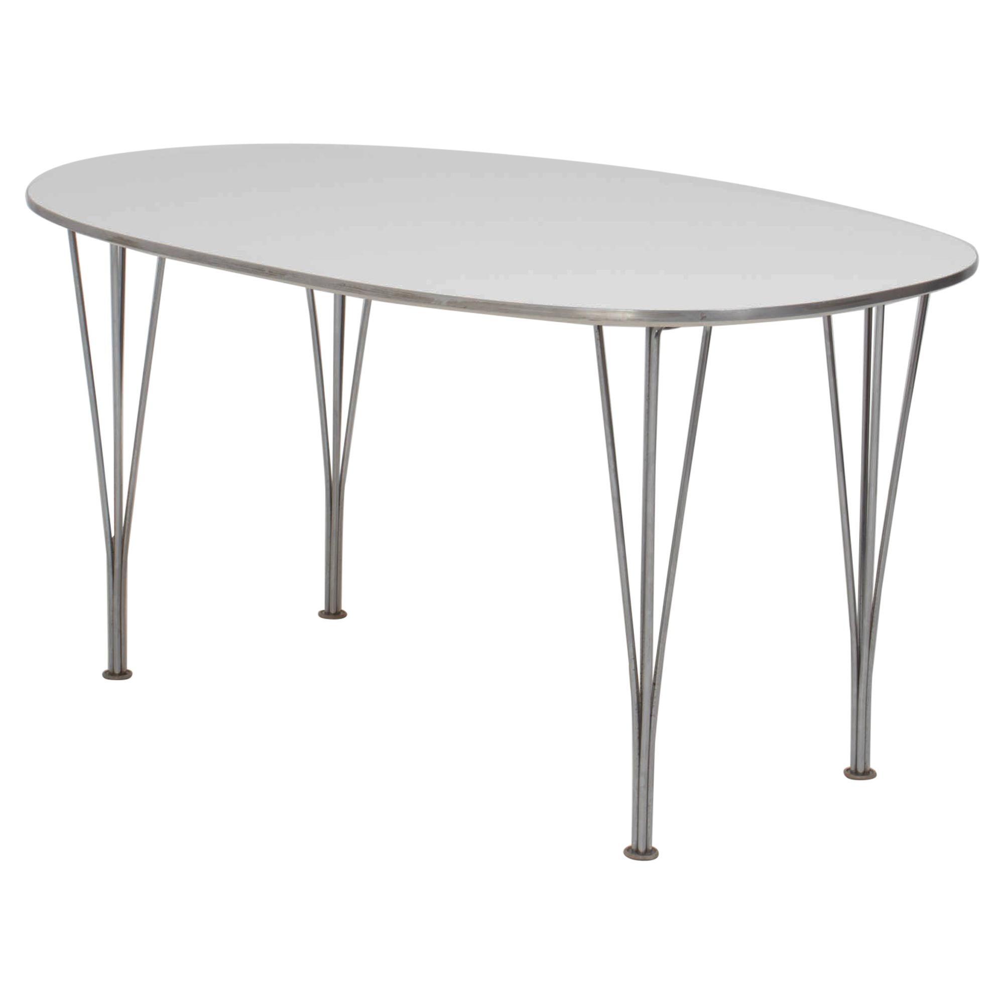 Fritz Hansen by Piet Hein and Bruno Mathsson White Super-Elliptic Table, 1996