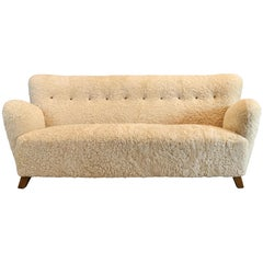 Fritz Hansen Couch in Shearling, 1940s