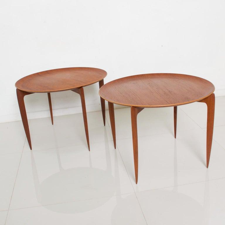 Mid-Century Modern Fritz Hansen Denmark Model 4508 Teak Folding Tray Side Table -Set of Two For Sale